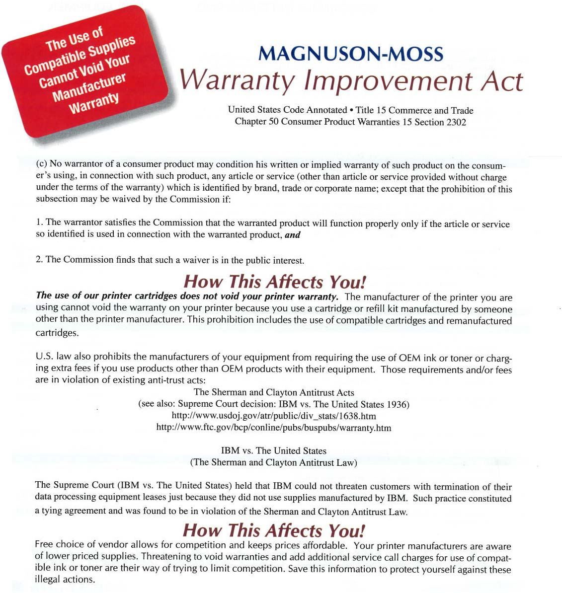Warranty Improvement Act